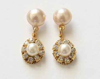 Wedding Jewelry,Bridal Jewelry,Wedding Accessories,Post Pearl Earrings,Crystal Earrings,Gold,Vintage,Wedding Earrings,Lux Earrings