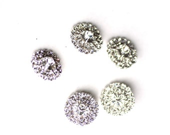 SALE 5 Rhinestone Buttons - 20mm with Shanks - Wedding - Ships IMMEDIATELY from California - RB09