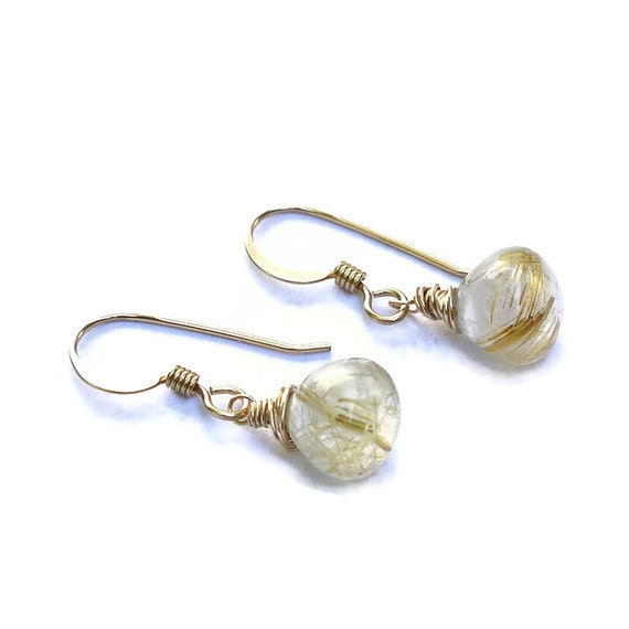 Golden rutilated quartz earrings gold filled gemstone for Golden rutilated quartz jewelry
