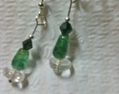 Flourite, chrysocolla and swarvoski crystal earrings, sterling silver