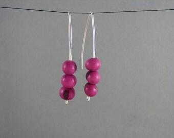 Modern Sterling Silver earrings with Pink Acai Earrings