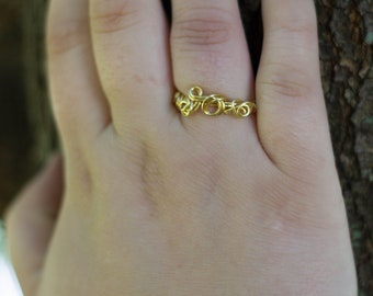 Wire Wrapped Ring - Gold Circles