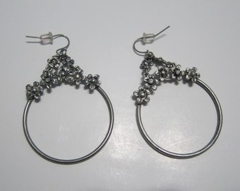 Antique Silver Round Earrings