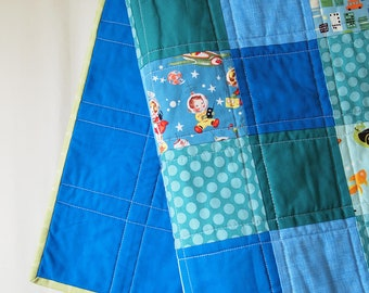 Baby Quilt--Modern Blue Zoo