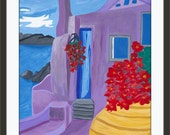 Painting Colorful Print Mediterranean Greece Santorini Home Decor Gift Purple Matted 8x10 READY to SHIP