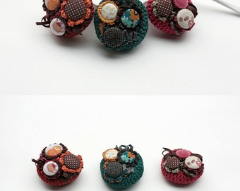 Textile flower brooch, crochet cluster pin, fabric button jewelry, OOAK