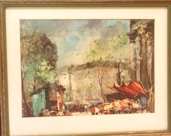 Vintage Pair Set of 2 Paris Prints 1960s Professionally Framed Flower Shop Street Scenes Green Red Awning City Green Gold Shabby Frame