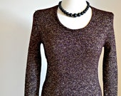 "1970's Vintage Jumper in Black/Brown with Gold Sparkle  Fall - Winter- Spring Fashion // ""Twinkle Twinkle"" from Lesley's Girls Vintage"