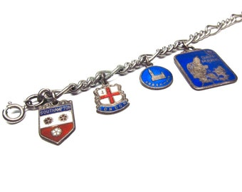 Vintage Travel Charm Bracelet Europe Charms Midcentury