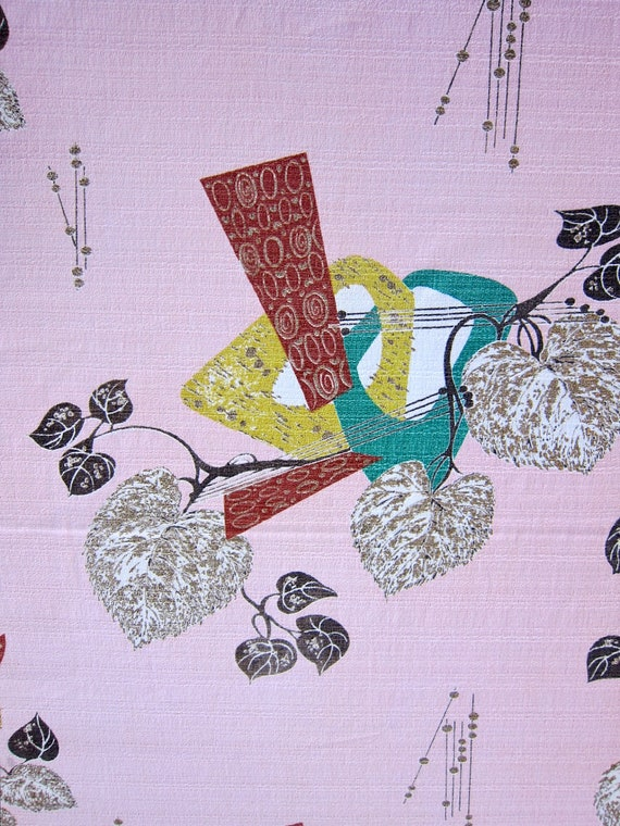 Vintage Barkcloth Fabric 1 yrd 1950s Pink Teal Chartreuse