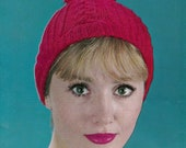 Knit Womens Hat With Pom Vintage Knitting PDF PATTERN