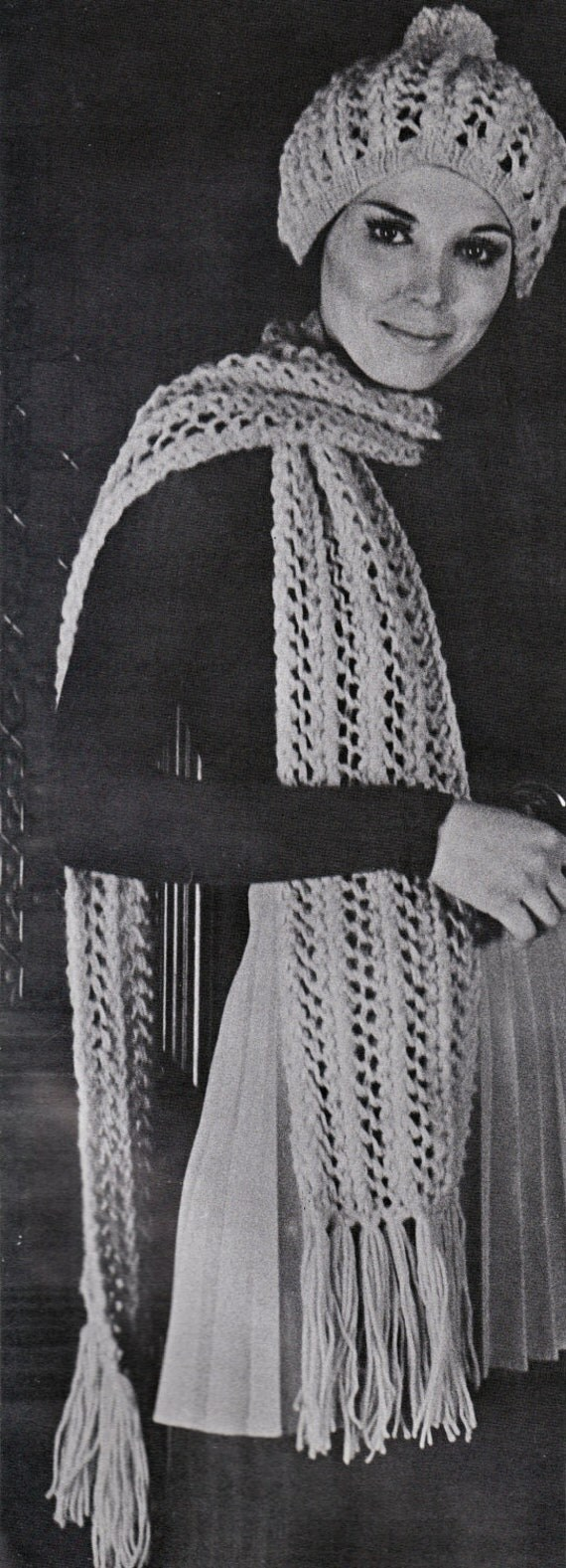 Knit Hat and Scarf Pattern 1960s Hippie Vintage Knitting PDF