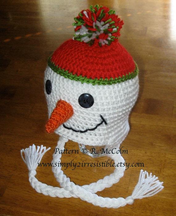Amigurumi Earflap Hat : Snowman Hat Pattern Crochet Pattern 10 Beanie and Earflap