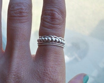 Set of 4 Sterling Silver Stacking Rings, Hammered Infinity Twist, Choice of Bubble, and Two Bands, custom made to order