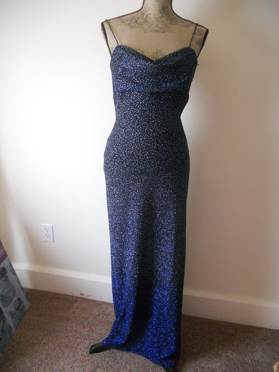 Vintage Ombre Evening Gown Formal Blue Sparkle Draped neck Open Criss cross back Small