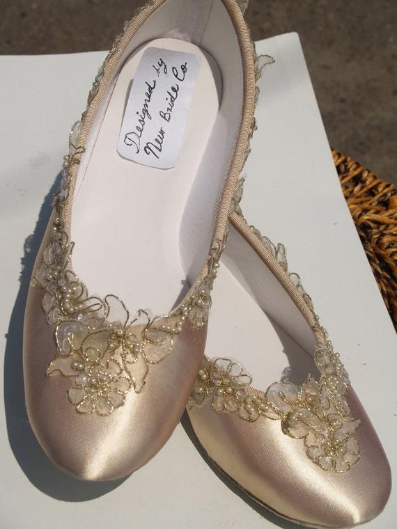 Champagne Wedding Flats Bridal Shoe Elegantly Gold Trimmed