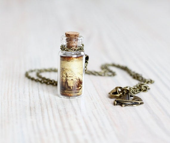 Pirate Ship Bottle necklace - For traveler - Pirate Jewelry