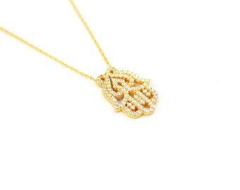 Free Domestic Shipping Sterling Silver Gold Color Hamsa Necklace Filigree, Hand, Hamsa, Gold, CZ, Vintage, Antique, Design, Necklace, Gift