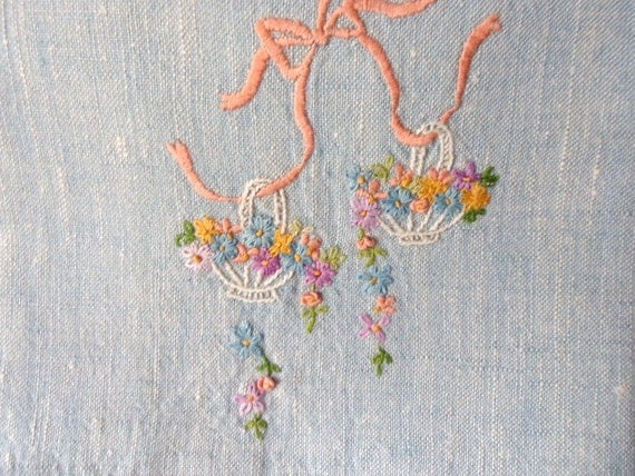 Blue Denim Floral Tea Towel, Hanging Basket Guest Towel, Hand Embroidered Fingertip Towel