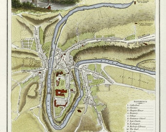 Durham 1804. Antique Map of Durham, England by J.Roper - MAP PRINT