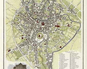Norwich 1807. Antique City Map of Norwich, England by J.Roper - MAP PRINT