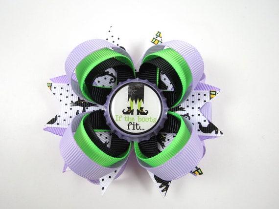 Halloween Hair Bow - Witch Hair Bow - Black Green Purple Hair Bow - Halloween Hair Clip - If The Boots Fit Hair Bow