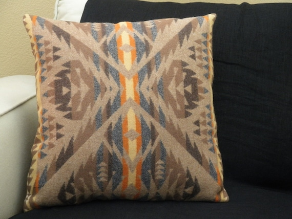 Pendleton wool pillow, Navajo inspired contemporary primitive pattern, subtle colors of grey, brown, tangerine 18 x 18