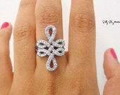 Double Infinity Knot Diamond Cocktail Ring-  Infinity Engagement Ring- Wedding Ring- Luxury Ring- Vintage , Art Deco Fine Jewelry