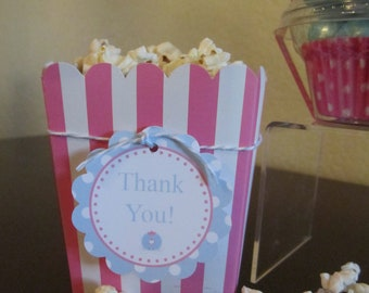 """Striped MINI Popcorn boxes """"Your Choice"""" of colors / set of 6"""