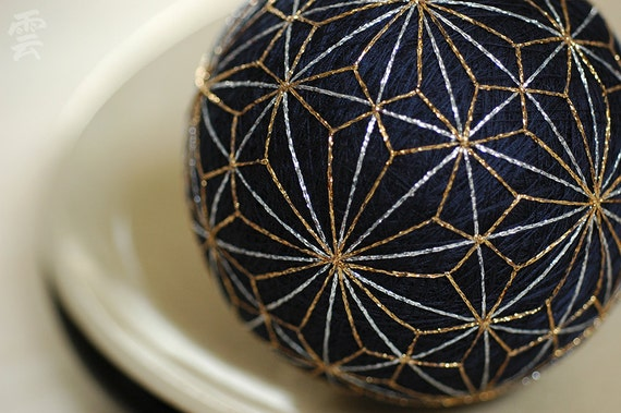 you can always begin again - Japanese temari - zen home decor ornament - midnight blue silver gold embroidery - crafting for a cause