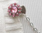 Sweater Clip Guard - Silver Pink Rhinestones - cardigan clip, sweater  chain