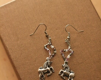 Unicorn beaded charm earrings