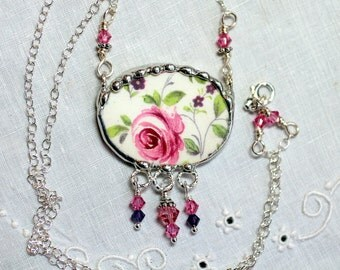 Necklace, Broken China Jewelry, Broken China Necklace, Pink Rose Chintz, Sterling Silver Chain, Soldered Jewelry