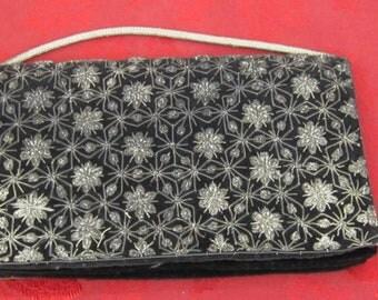 Made in India Black Velvet Sequin Purse c1960