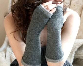 Fingerless Gloves grey cashmere, fingerless mittens, armwarmers