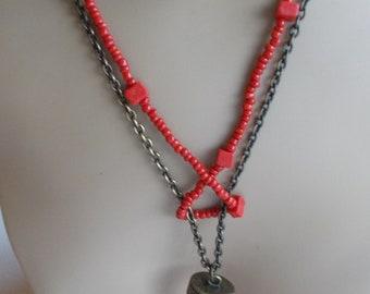 Vintage Unique Tibetan Beaded Red Tooth Design  Necklace
