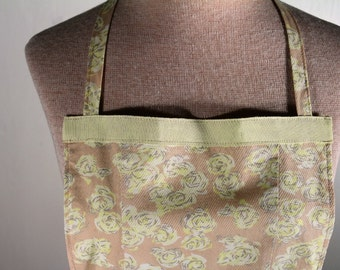 Woman's Kitchen Apron - Upcycled Tan & Yellow Floral Womens' Apron - Recycled Repurposed