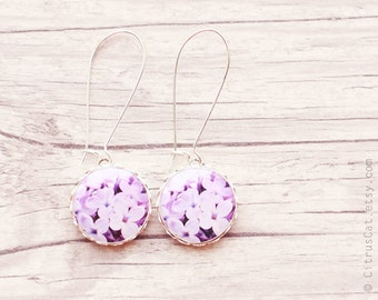 Lilac flowers earrings, floral earring, nature jewelry, pink earrings, lilac earrings, romantic jewelry