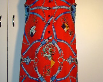 Vintage women 1970s sleeveless classic red and blue trapeze dress