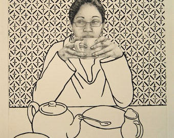 Tea time portrait print, original fine art etching, pattern wall, black and white