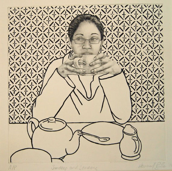 Tea time portrait print, original fine art etching, pattern wall, black and white