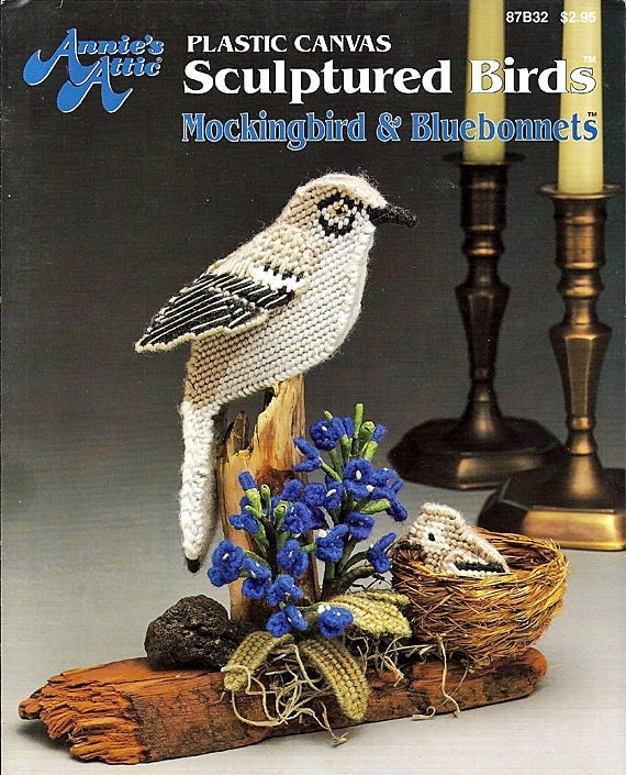 Mockingbird Amp Bluebonnets Sculptured Birds Plastic Canvas
