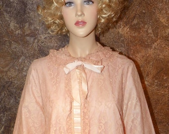 Peignoir Beautiful Full Length Pink Lace by Odetta Barsa