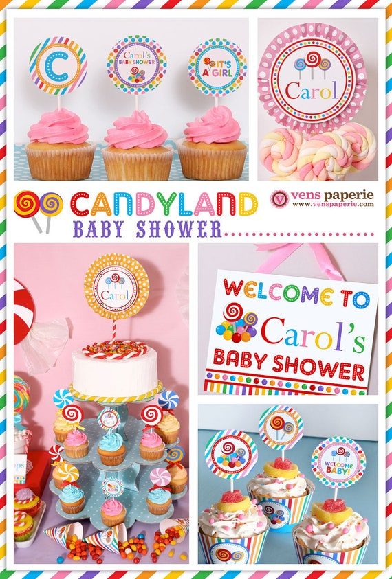 candy land baby shower package personalized full collection set