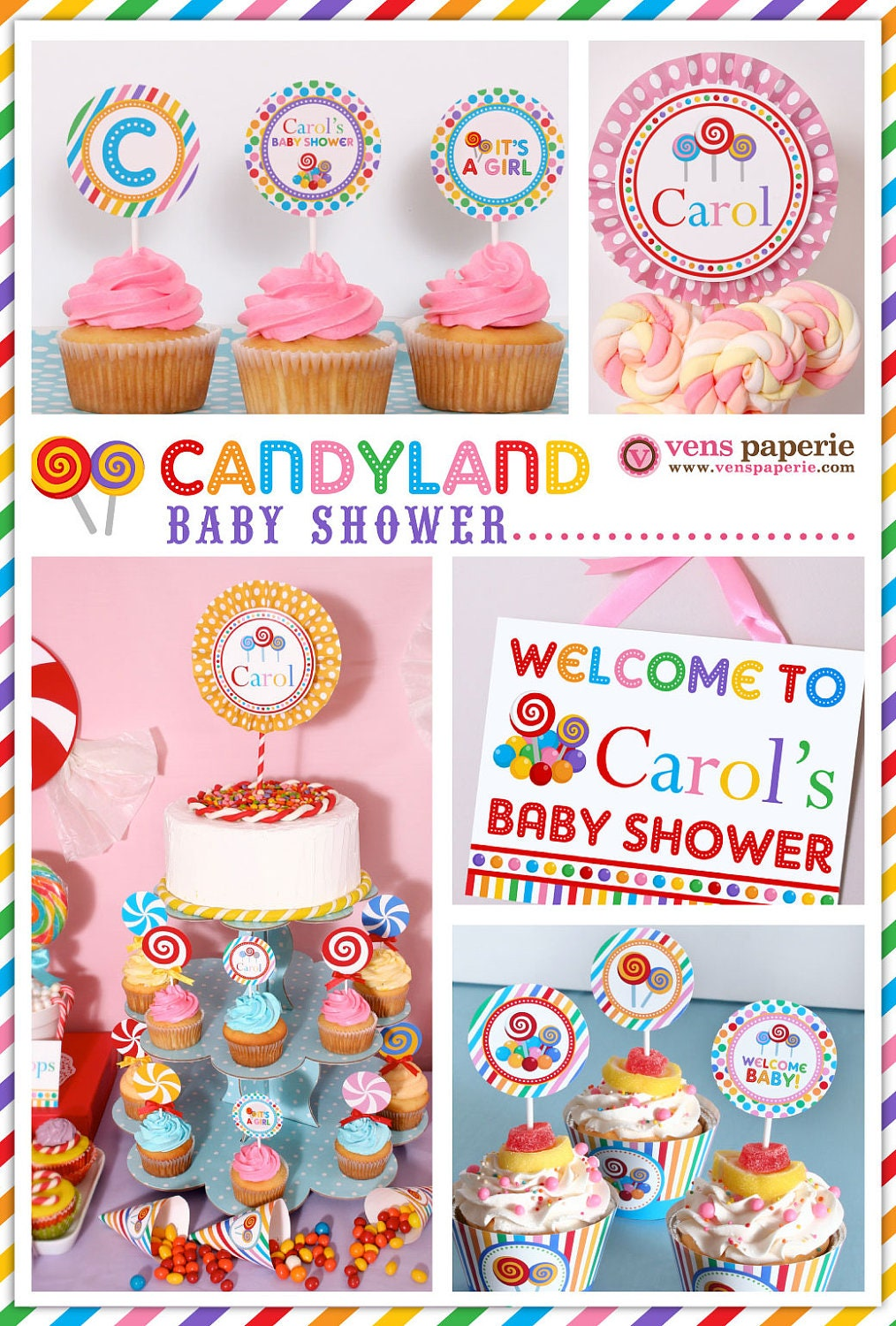 candy land baby shower package personalized full collection