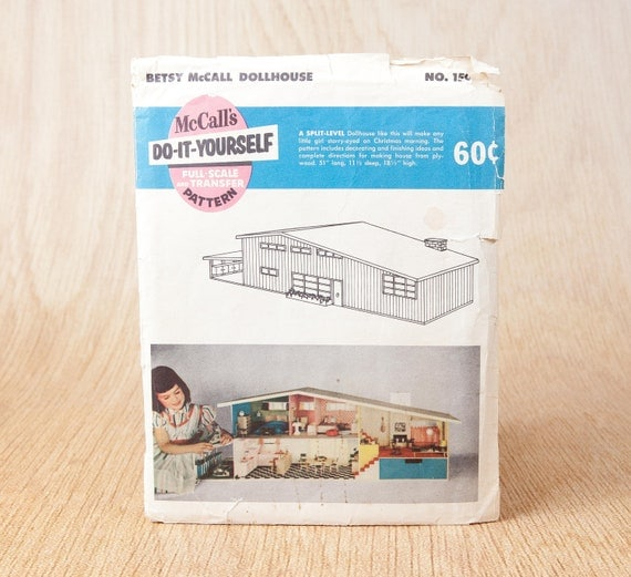 Bamboo furniture etsy - Betsy Mccall Split Level Dollhouse Plans Pattern Mid