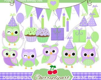 Purples and Greens Birthday Owls Digital Clipart Set for-Personal and Commercial Use- for Card Design, Scrapbooking, and Web Design