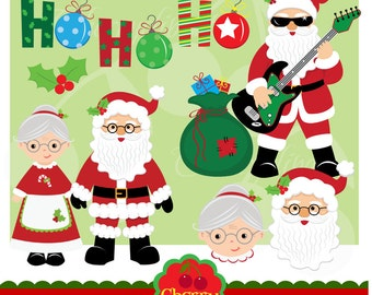 Christmas Santa Claus digital clipart set for-Personal and Commercial Use-paper crafts,card making,scrapbooking,web design
