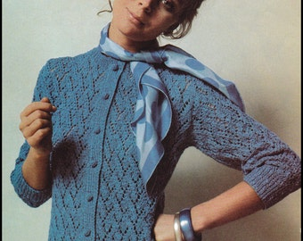 "No.243 Knitting Pattern Vintage PDF For Women - Zigzag Lace Cardigan - Instant Download - Retro Knitting Pattern - 35 1/4"", 40 1/4"", 45 1/2"""