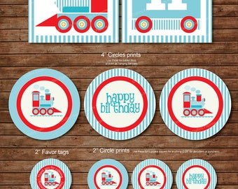Choo Choo Train Birthday Party DIY Printable Party pack - match with Thomas the train - baby blue - instant download